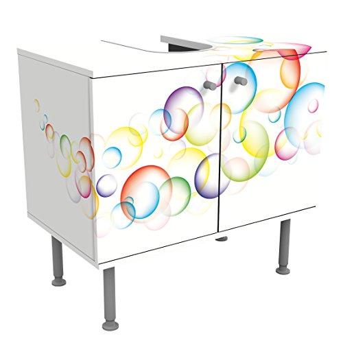Meuble sous Vasque Design Rainbow Bubbles 60x55x35cm, Petit, 60 cm de Large, réglable, Table de lavabo, Armoire de lavabo, lavabo, Meuble Bas, Baignoire, Salle de Bains, Armoire de Salle Bains