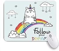 VAMIX マウスパッド 個性的 おしゃれ 柔軟 かわいい ゴム製裏面 ゲーミングマウスパッド PC ノートパソコン オフィス用 デスクマット 滑り止め 耐久性が良い おもしろいパターン (虹のおとぎ話の動物かわいい猫ユニコーンはあなたの夢に従ってください)