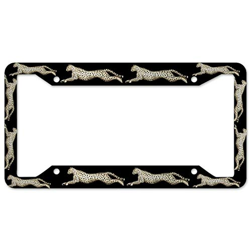 Bohohobo Leopard License Plate Frame 4 Pieces Design License Plate Frame With 4Holes Fite For Man Cave white 16x31cm