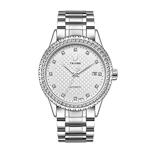 TEVISE Herren Automatische Mechanische Armbanduhr Diamant Kalender wasserdichte Edelstahluhr