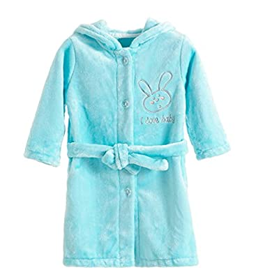 XINNE Unisex Hooded Bathrobe Pajamas Toddlers Kids Flannel Sleepwear Dressing Gown