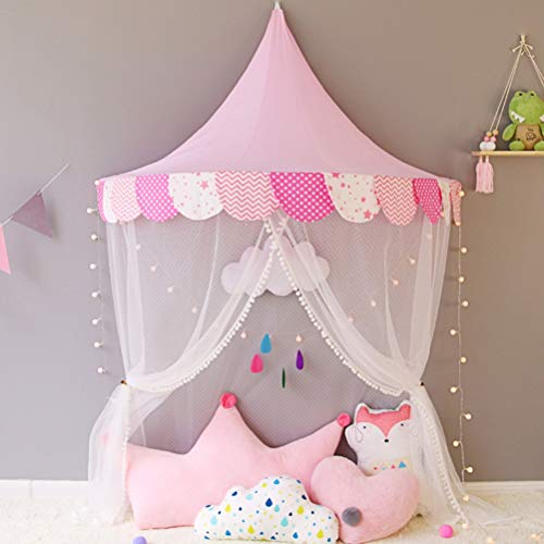 Nlatas Ciels de lit, Lit pour Enfant Auvent en Forme de Demi-Lune Tente de Jeu en Moustiquaire en Coton Idéal pour bébé Intérieur Lecture en Plein air Chambre à Coucher,Pink,1.5m