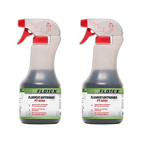 Flotex® 2 x 500ml Flugrostentferner Auto - Entfernen von Flugrost auf der Lackoberfläche | Rostentferner für Autolacke - entfernt Flugrostrückstände, kleine Rostflecken & Industriestaub