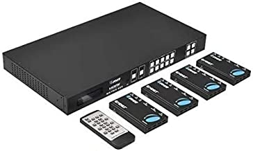 Professional 4K 4x4 HDMI Extender Matrix by OREI - HDBaseT UltraHD 4K @ 60Hz 4:2:0 Over Single CAT5e/6/7 Cable with HDR Sw...