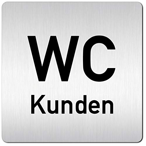 Kinekt3d Leitsysteme XXL Schild - Türschild • 125 x 125 mm • Kunden Toilette + WC • 1,5 mm Aluminium Vollmaterial • 100% Made in Germany