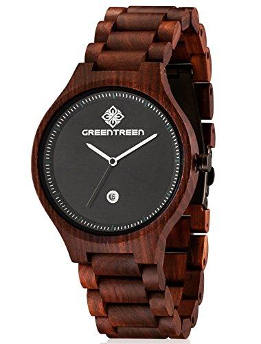 GREENTREEN Herren Holzuhr, Armbanduhr für Männer mit Holzarmband Analog Quarz