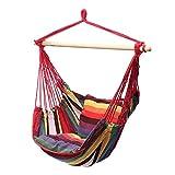 FLOX Silla colgante, columpio con 2 cojines y barra de apoyo de madera, espesado, cuerda de lona, silla de hamaca, asiento para interior y exterior