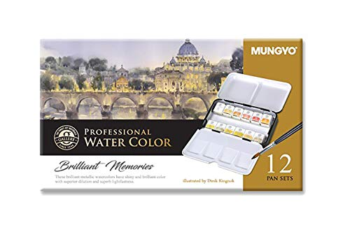Mungyo Professional Half Pan Size Water Colors Set in Tin Case/Integral Mixing Palette in The lid (Metalic Tone 12 Colors)