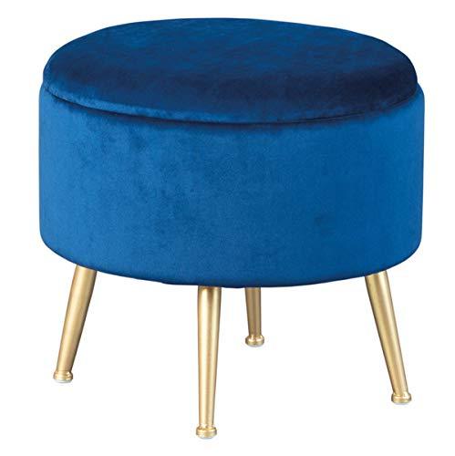 PEGANE Pouf Velours Bleu avec Pieds en métal Couleur Or - Dim : 41 x 41 x 38 cm