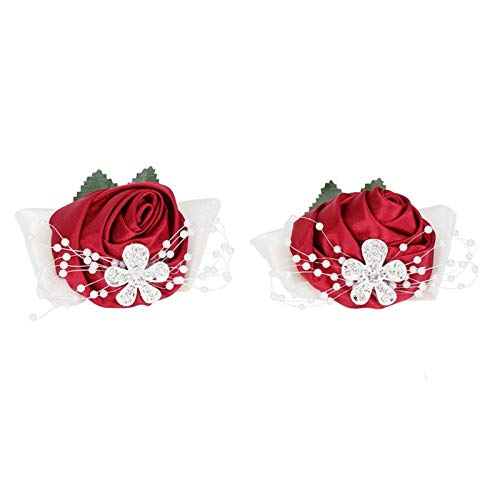 Flor de mano 2 piezas Flor de mano Dama de honor Ramillete de muñeca Decoraciones de boda Diamante Rosa(Vino rojo)