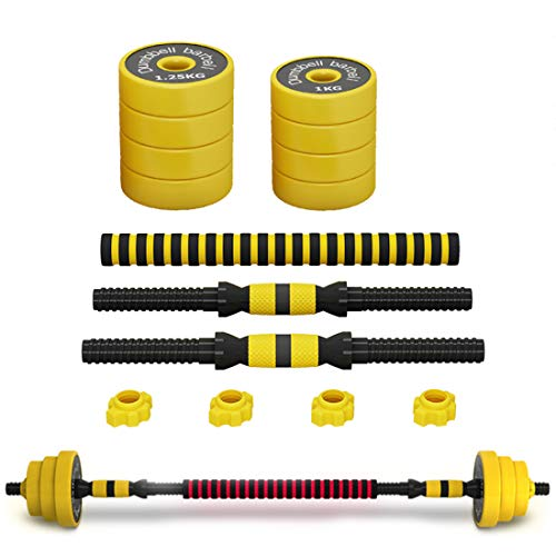 LLC-POWER Dumbbell Barbell Combination Packages, Adjustable Weight for Every Type Training, Ergonomic Non-Slip Handle, Body Building Strength Training, 10KG/22Lbs (A Pair Total Weight)