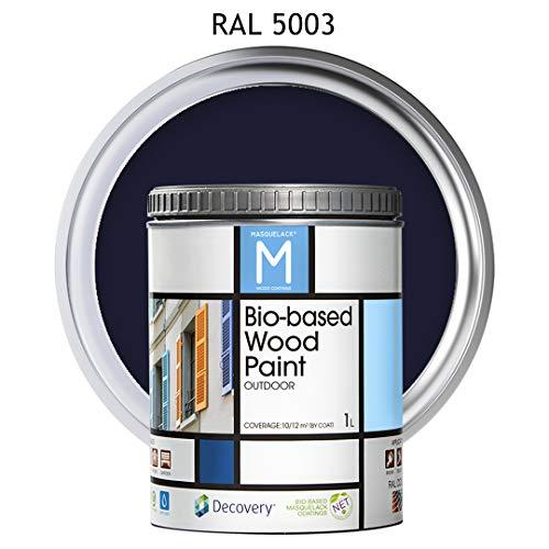 Pintura para Madera | Bio-based Wood Paint RAL 5003 | 1 L | para todo tipo de madera | Pintura madera exterior con un aspecto de acabado semi mate cálido y sedoso | Color Azul