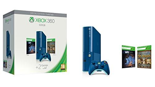 Xbox 360 - Consola 500 GB, Color Azul + 2 Juegos - Edición Especial