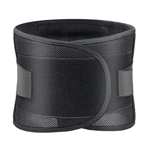 Exercise Breathable Mesh Orthopedic Back Brace Support Bar Body Waist Belt Lumbar Spine Posture Corrector Trainer Muscle Corset (Color : Black, Size : Large)