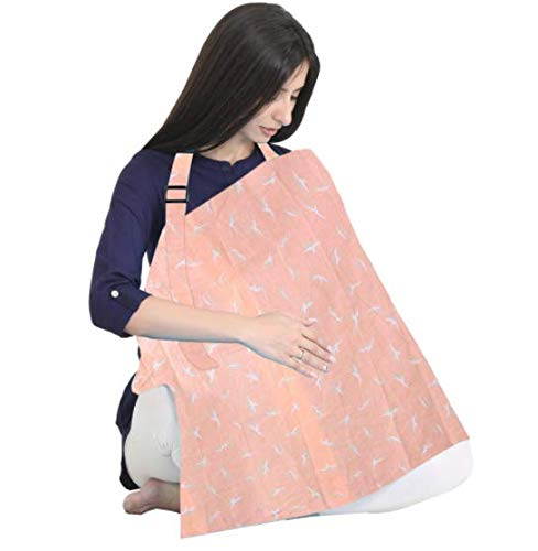 POLKA TOTS Nursing Cover for Breastfeeding Feeding Apron Cover Maternity Cover & Scarf 100% Cotton Maternity Breastfeeding Multipurpose for Mothers with Carry Pouch (Peach)