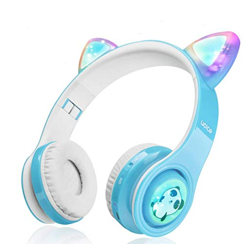 Woice Kabellose Bluetooth Kopfhörer für Kinder mit LED Blinklichter, Musikfreigabefunktion, langlebige Batterie und 85dB Lautstärkeregler Kinder-Bluetooth-Kopfhörer für, Mädchen (Himmelblau)