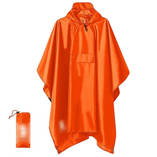 IENPAJNEPQN Capucha Poncho de Lluvia del Impermeable Chaqueta Impermeable Compatible with Hombres Mujeres (Color : Orange(3 in 1))