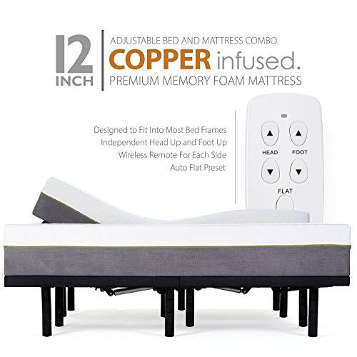 Split King Adjustable Bed Frames and 12 Inch Copper Gel Infused Cool Memory Foam Mattress Medium Firm Feel CertiPUR-US Certified (Split King)