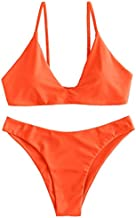 ZAFUL Women's Tie Back Padded High Cut Bralette Bikini Set Two Piece Swimsuit (Pumpkin Orange, M)