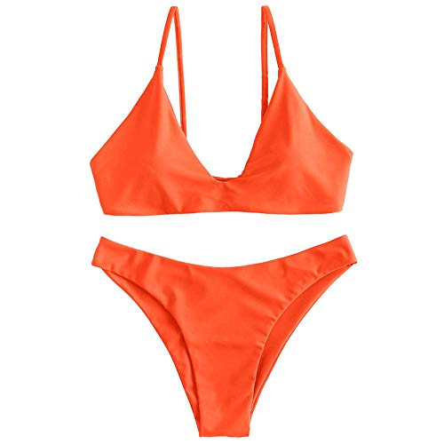 ZAFUL Women's Tie Back Padded High Cut Bralette Bikini Set Two Piece Swimsuit (Pumpkin Orange, S)