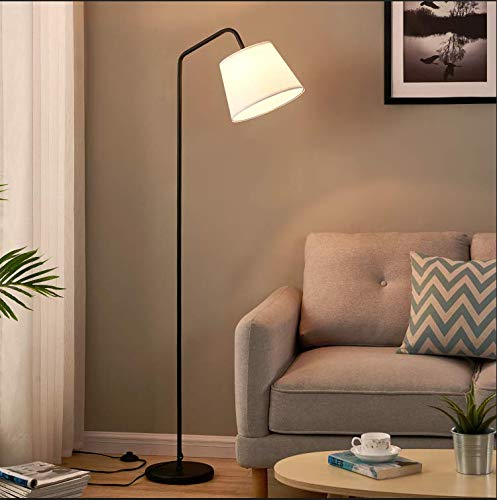 LED Floor Lamp, Modern Standing Lamp with Arc Design, Tall Lamp Hanging White Lampshade, Standing Light with Foot Switch, Corner Reading Lamps Tall Pole Light for Office Bedroom Living Room