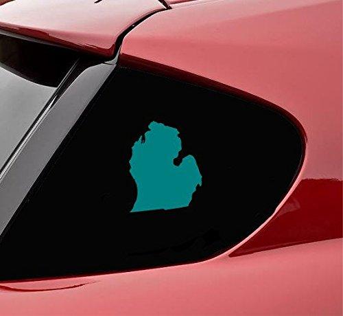 Slap-Art Michigan MI State Shape - Adhesivo de vinilo con forma de estado, color verde azulado