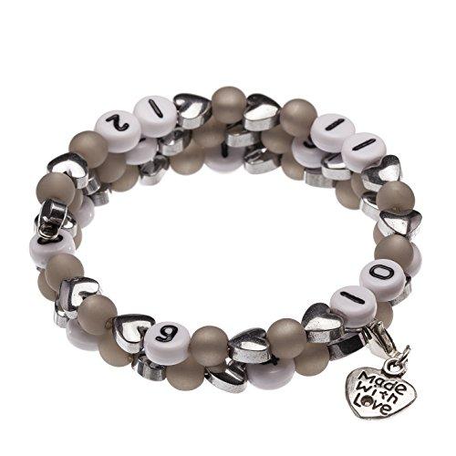 Stillarmband Hearts - Ein ideales Geschenk zur Geburt & eine wunderschöne Hilfe beim Stillen! (grau)