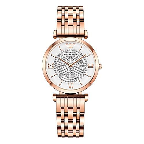 ZWH Wlisth Business Women's Style Star Star Watch Trend Ladies Reloj Mesa de Cuarzo Wholesale Reloj Femenino Personalizado (Color : Star Diamond Rose)