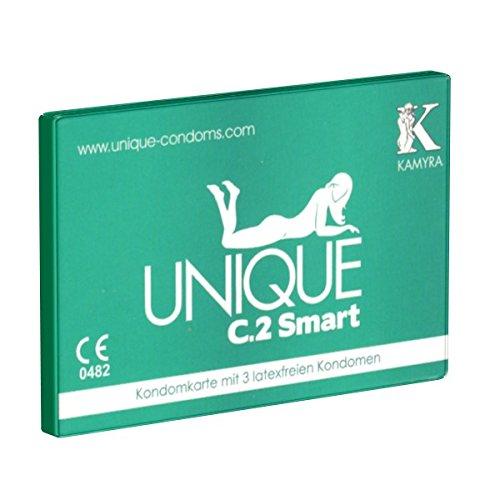 KAMYRA Unique C.2 Smart (PRE-ERECTION) Condom Card, grün - das mitwachsende Kondom, bereits vor der Erektion überziehbar - keine Unterbrechung des Vorspiels nötig, 1 x 3 Stück