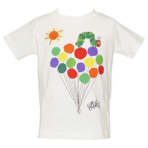 【本体綿100%】2021年 夏物 はらぺこあおむし 天竺 風船柄 半袖Tシャツ THE WORLD OF ERIC CARLE ホワイト◇90cm