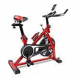 SAFGH Bicicleta de ejercicio, correa de conducción para interiores con resistencia magnética, bicicleta estática estacionaria con monitor LCD para entrenamiento en casa, entrenamiento cardiovascular