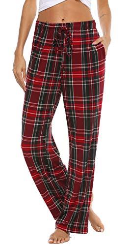 Vlazom Pantalones de Pijama a Cuadros para Mujer, Pantalones Casual de con Bolsillos para Ropa de Dormir S-XXL