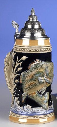 Fabricado en Relief jarra de cerveza - Maritim - pescado - Fish - cerveza, Beer Mug - cerámica, pintado a mano con tapa de estaño