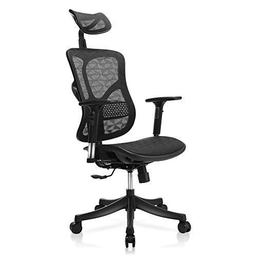 TomCare Office Chair Ergonomic Mesh Office Chair Modern with Rotation Headrest, Adjustable Backrest, Armrest and Seat Height Swivel Computer Chairs Desk Chairs Modern for Home Office Conference Room
