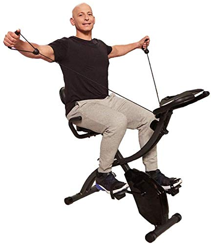 Original As Seen On TV Slim Cycle Stationary Bike - Folding Indoor Exercise Bike with Arm Resistance Bands and Heart Monitor - Perfect Home Exercise Machine for Cardio