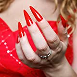Red Hot Sculpted extra long Stiletto Press on fake nails - False nail tips full cover nails