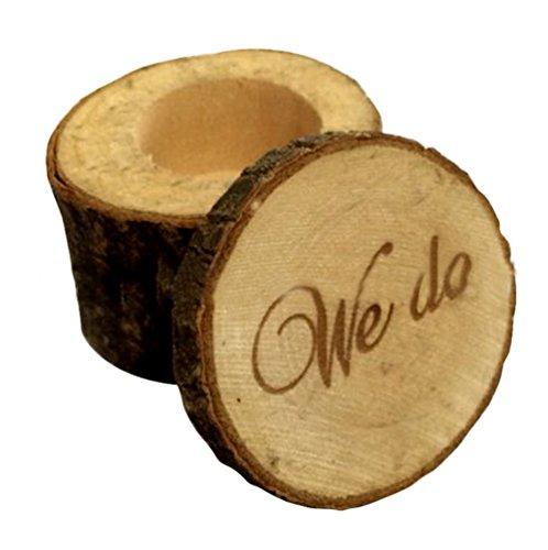 Fablcrew Boîte à Bague en bois WE Do étui de rangement de bague de style shabby chic rustique Bague de mariage Boîte de Porteur pour cérémonie anniversaire cadeaux