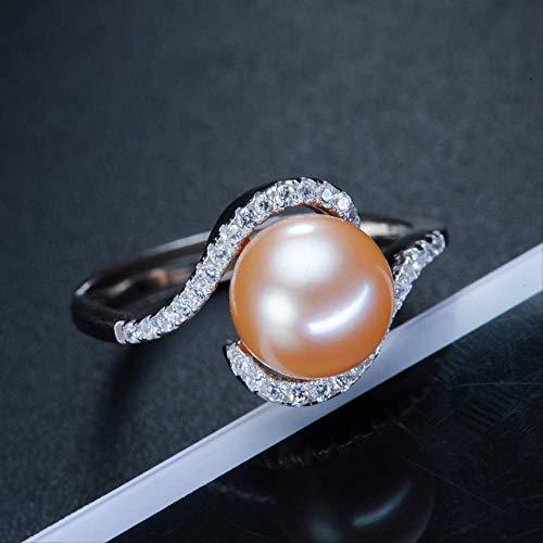 WTPUNGB Natürlicher Süßwasser Perlenring Schmuck 925 Silber Paar Ringe für Frauen Echte Perle Fingerring Verlobungsgeschenk Veränderbare rosa Perlenring