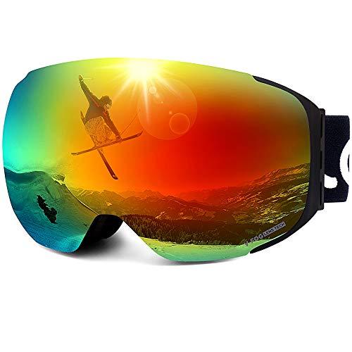 LEMEGO Ski Goggles Snowboard Goggles - Magnetische Frameless Verwisselbare 100% UV400 bescherming Dual Layers Anti-Fog Sferische Lens Anti-Slip Strap Helm Compatibel voor mannen & vrouwen Jeugd