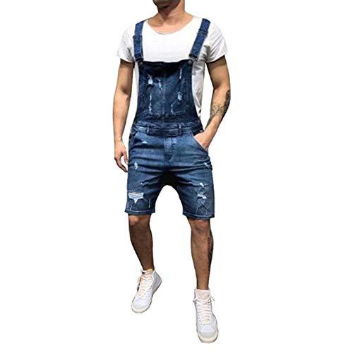 QQKLP 2020 Aufmaß Fashion Men Zerrissene Jeans Jumpsuits Shorts Sommer Hallo Straße Distressed Denim-Latzhose Fit für Mann Strumpfhose,Braun,XL