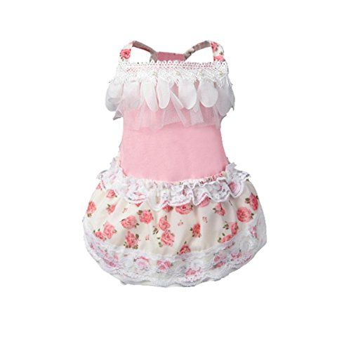 IEason Pet Clothes, Dog Cat Bow Tutu Dress Lace Skirt Pet Puppy Dog Princess Costume Apparel Clothes (S, Pink)