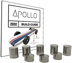 3.25 oz Tungsten Pinewood Car Weights + 20 Page Step-by-Step Build Guide for Apollo 2000 Derby Car Showing Design + Weight Placement, Bring Your Car to The 5 oz Limit and Gain The Winning Edge