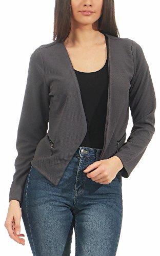 malito more than fashion Malito Damen Blazer ohne Kragen | Sakko im Basic Look | Kurzjacke mit Zipper | Jacke - Jackett - Blouson 6040 (dunkelgrau, M)