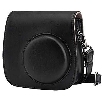Blummy PU Leather Camera Case Compatible with Fujifilm Instax Mini 11/ Mini 9/ Mini 8 Instant Camera with Adjustable Strap and Pocket  Black