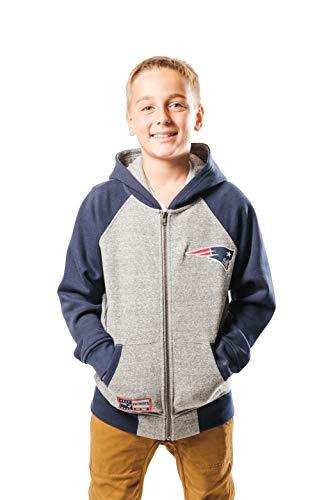 Ultra Game NFL New England Patriots Youth Full Zip Soft Fleece Raglan Hoodie, Team Color, Medium (New England Patriots Hoody)
