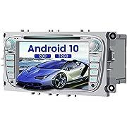 AWESAFE Autoradio Android 10 für Ford, 2GB+32GB, unterstützt DAB WLAN Bluetooth CD DVD Doppel Din Radio mit 7 Zoll Bildschirm - Silber