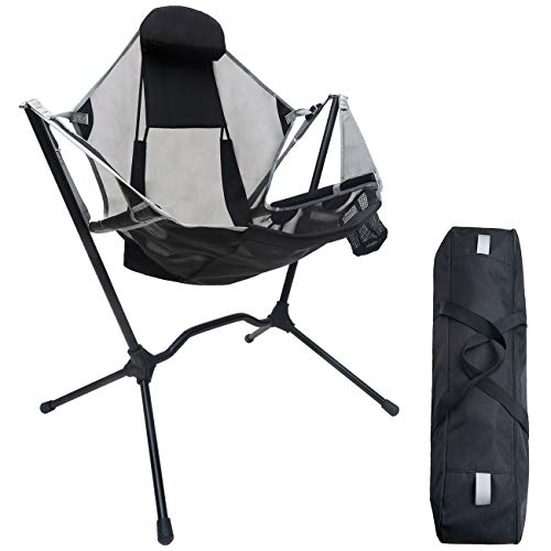 Make Skin Make Bone Swing Camping Chair Portable Rocking Recliner Folding Outdoor Rocker Camp Chairs Foldable for Adults Fishing with Pillow for Travel Beach Picnic Stargaze Lawn