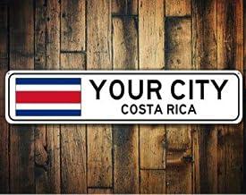 Señal de la bandera de Costa Rica, recuerdo de Costa Rica, regalo de Costa Rica, recuerdo del país, señal de la ciudad de metal, señal de ciudad, recuerdo de la ciudad, señal de aluminio de calidad