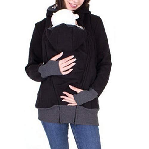 Bumblebee Känguru Wintermantel Schwangere Frau Winterjacke Winter Jacket Outwear Dicke Sweatjacke mit Elternschaft Taschen Damen Schwarz Kapuzenpullover Jacke Damen Warm Mantel Sweatshirt Pullover