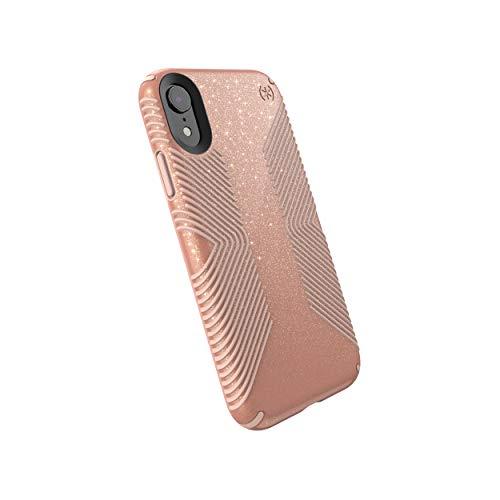 Speck Products 117060-6832 Presidio Grip + Glitter iPhone XR Case, Bella Pink with Gold Glitter/Dahlia Peach